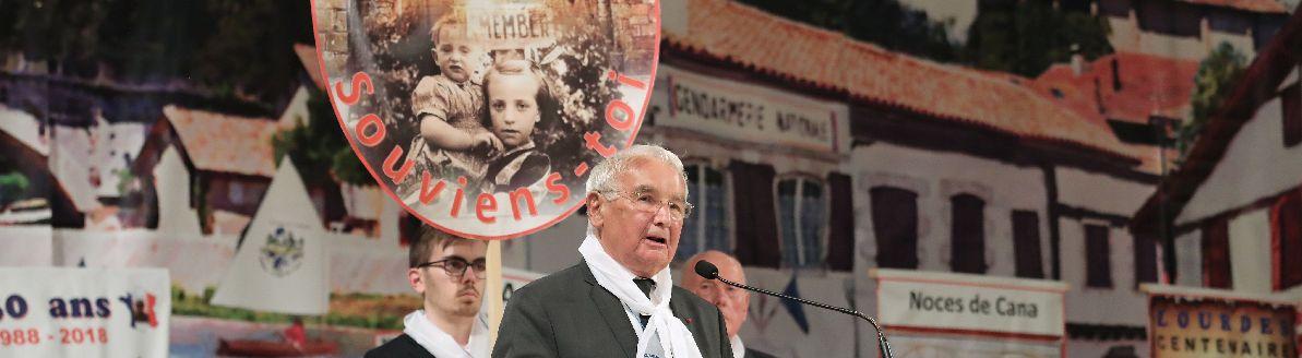 Robert Hébras prenant la parole à Lourdes le 22 juin 2018