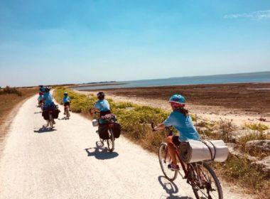 La famille Lucas à vélo vers Lourdes