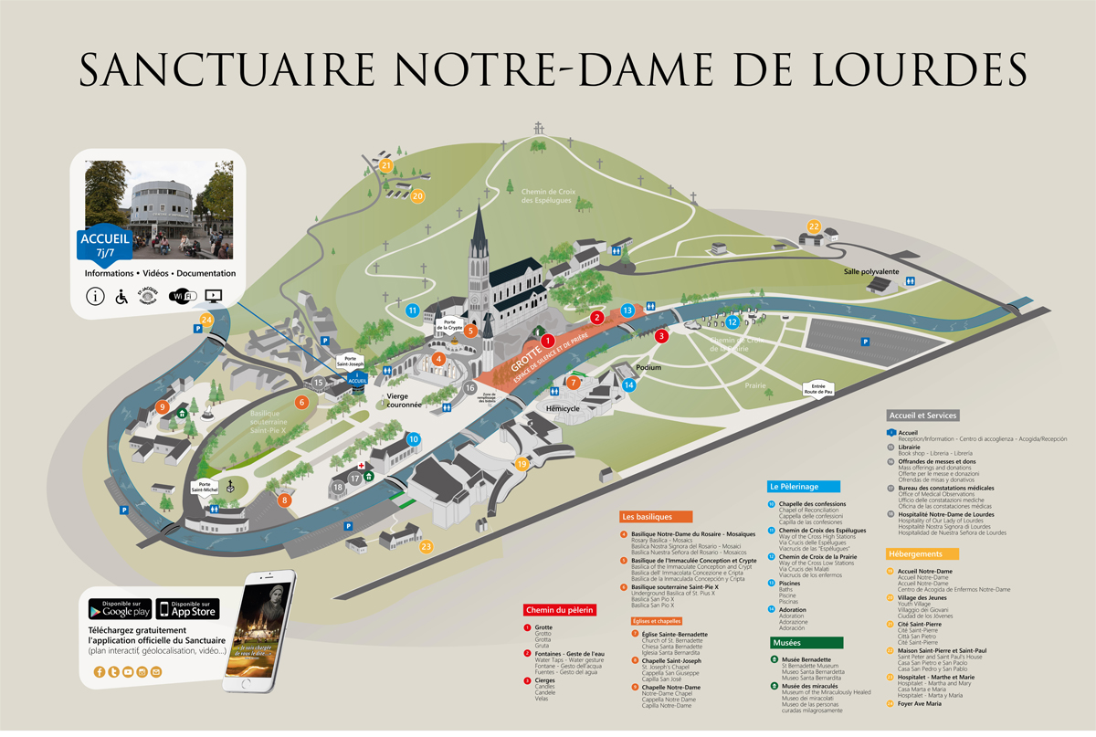 Image result for where is Sanctuary of Our Lady of Lourdes and the Grotto of Massabielle map